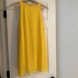 Tacera Yellow flowy lined tank shift dress